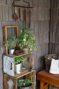 It's porch season! Head to your local flea market and look for old, beat-up crates. Turned on their sides, they make a lovely home for spring herbs.
