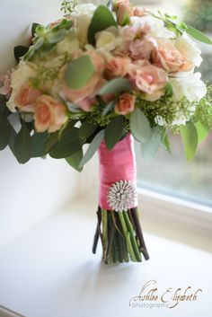 coral rose wedding bouquet rhinestone bouquet brooch utah wedding flowers calie rose