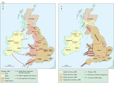 13.4 The two maps of 600 AD and 800  AD show the advance  of the Anglo Saxon kingdoms across Britain and the rise to dominance of Mercia.