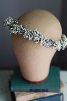 Babys Breath with Lavender Flower Crown / Hair by WoodlandSecrets