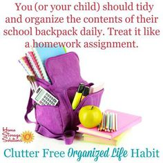 The best way to not get overwhelmed with kids' school papers in your home is to declutter your kids' backpacks daily, which if done that frequently takes seconds to a couple of minutes max. Here's tips for how to make it a habit! {on Home Storage Solutions 101}