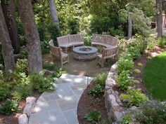 Stone path to a hidden firepit