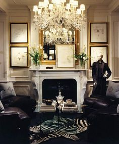 Gold framed sketches on thin black mat -Ralph Lauren Home