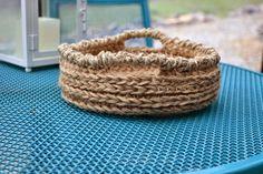 Crochet basket pattern using jute 3 ply twine from Dollar Tree