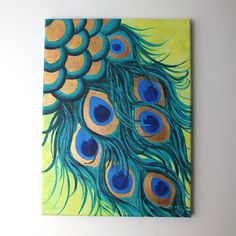 Original Painting PEACOCK FEATHERS 12x16 acrylic canvas by nJoyArt, $125.00