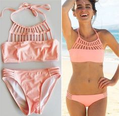 Soak up some Sun and feel PEACHY in this gorgeous pastel peach bikini! The top features a gorgeous strappy caged detail and the bottoms feature a hipster cut with small strappy detail right on the hips!