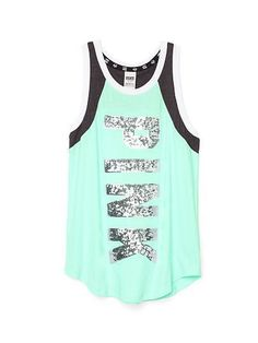 "Victoria's Secret PINK Bling Muscle Tank Top Shirt Size: Extra Small Color: Mint Green 60% Cotton 40% Polyester Curved Hem ""PINK"" Wording Dazzled In Silver Bling!!"