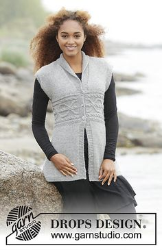 "0e6b0c30dfb081 Millicent - Knitted DROPS vest with cable border in waist and shawl collar  in ""Puna"". - Free pattern by DROPS Design"