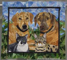 "Cassidy, Chase, Mashatu and JasPurr, 31 x 34"", by Nancy S. Brown.  2012 Pacific International Quilt Festival.  Photo by Quilt Inspiration."