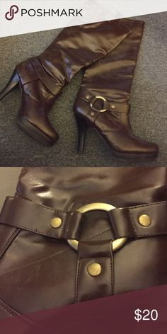 Boots Brown boots with 4inch heel and a 1 inch platform in front / calf with is 7.5 inches with a small stretch strip on top jasmin Shoes Heeled Boots