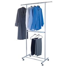 Hanging clothes rack clothes rack from ceiling container store made to our specifications chrome metal double Hanging Clothes Racks, Space Saving Hangers, Garment Racks, Custom Closets, Old Dressers, Container Store, Closet Space, Closet Organization, Wardrobe Rack