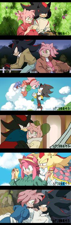 Shadamy x Ghibli by on DeviantArt Hedgehog Art, Shadow The Hedgehog, Sonic The Hedgehog, Shadamy Comics, Shadow And Amy, Sonic Fan Characters, Sonic Fan Art, Animal Habitats, Ghibli Movies