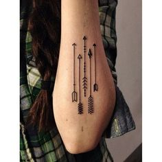 geometric animal arm tattoo | Geometric Arrow Tattoos On Left Elbow
