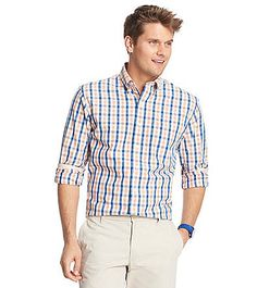 Izod® Men's Long Sleeve Medium Plaid Woven | Younkers