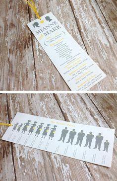 Bookmark wedding programs