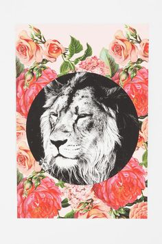 Floral Lion Poster #urbanoutfitters