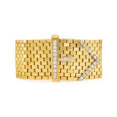 Retro gold and diamond buckle bracelet, Austro-Hungary