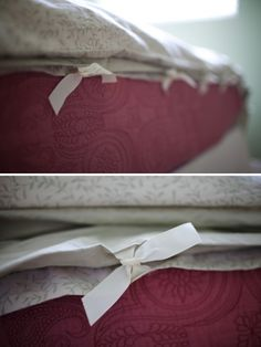 duvet cover ~ a simple DIY | the creative mama It looks pretty simple. I think I'll be able to tackle them no problem!