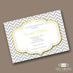 Chevron Bridal Shower Invitation - Print Your Own Digital File - via #Etsy