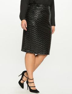 Plus Size Studio Sequin Chevron Pencil Skirt