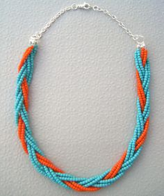 Boho Turquoise Blue and Orange Braided Bead Necklace. $18.00, via Etsy.