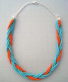 Boho Turquoise Blue and Orange Braided Bead Necklace. via Etsy.