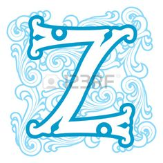 vector image of letter Z in the old winter vintage style