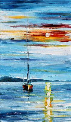 CARRBIEAN NIGHT - Original Art Oil Painting By Leonid Afremov by Leonid Afremov