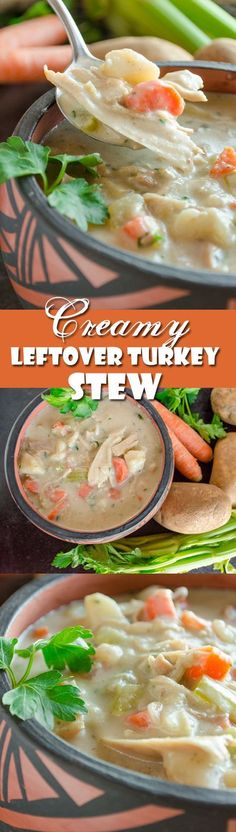 Creamy Leftover Turkey Stew This recipe for Creamy Turkey Stew will be the best part of you Thanksgiving meal. Hearty, savory and delicious soup you will be wishing you had more leftover turkey to make another batch! Leftover Turkey Recipes, Leftovers Recipes, Turkey Leftovers, Soup Recipes, Chicken Recipes, Cooking Recipes, Paleo Recipes, Recipies, Chicken Meals