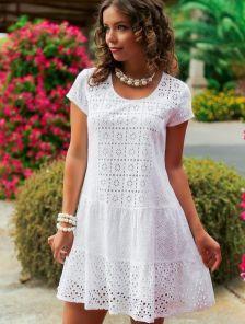 Modest Dresses, Simple Dresses, Nice Dresses, Casual Dresses, Short Dresses, Summer Dresses, Classy White Dress, Lace Dress Styles, Frock For Women