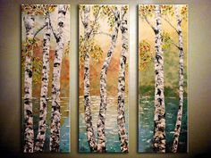 "Original Abstract LandscapeTextured Painting.Impasto.Palette Knife.Triptych.Birch Tree.Lake.3 panels 36""x 36"".. -.by Nata S."