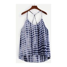 SheIn(sheinside) Strappy Tie Dye Print Cami Top - Blue ($13) ❤ liked on Polyvore featuring tops, multi color, spaghetti strap tank, spaghetti strap cami, spaghetti strap tank tops, camisole tank tops and blue cami
