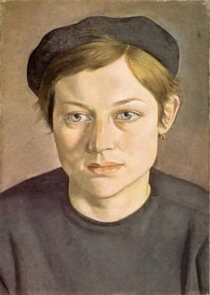 Girl with Beret - Lucien Freud (1951-52)  Art Experience NYC  www.artexperiencenyc.com