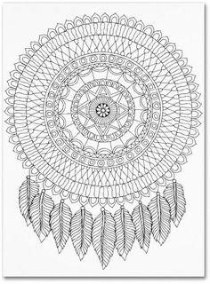 Best 7 Trademark Global Hello Angel 'Mandala feather Dream catcher' Canvas Art – 24 x 32 Crochet Mandala Pattern, Crochet Stitches Patterns, Crochet Squares, Crochet Doilies, Dream Catcher Canvas, Feather Dream Catcher, Large Dream Catcher, Mandala Feather, Canvas Art Prints