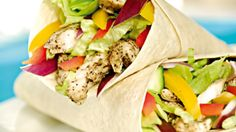 Photo about Grilled chicken with salad in tortilla wraps. Image of tomato, finger, iceberg - 8563661 Taco Wraps, Steak Wraps, Tortilla Wraps, Chicken Salad, Grilled Chicken, Poultry, Grilling, Tacos, Costume Design