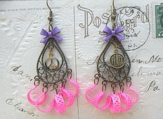 freaky friday earrings assemblage funky HOT pink market found