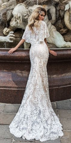 crystal design 2018 half handkerchief sleeves v neck full embellishment elegant fit and flare wedding dress covered lace back medium train (indira) bv -- Crystal Design 2018 Wedding Dresses