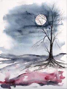 """moon light gothic landscape painting"" by Derek McCrea Watercolor Landscape Paintings, Watercolor Trees, Easy Watercolor, Watercolor Water, Landscape Drawings, Watercolor Artwork, Watercolor Artists, Watercolor Portraits, Art Paintings"