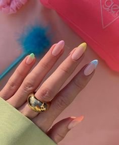 French Tip Acrylic Nails, Acrylic Nails Coffin Short, Almond Acrylic Nails, Best Acrylic Nails, French Nails, Color French Manicure, Chic Nails, Stylish Nails, Swag Nails