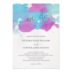 Vibrant Dreams Watercolor Wedding Invitation. Aqua / Blue / Orchid / Purple / Plum / Pink