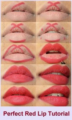 perfect red lips tutorial step by step - Trend Hair Makeup Flawless Skin 2019 Lipgloss, Red Lipsticks, Makeup Lipstick, Liquid Lipstick, Drugstore Makeup, Lipstick Dupes, Natural Lipstick, Eyeliner Makeup, Lipstick Tricks