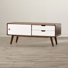 Features: -Solid rubberwood and engineered wood veneer. -Dark walnut and white finish. -1 Paneled sliding doors and 2 drawers. Product Type: -TV Stand. Finish: -Dark walnut/White. Frame Material