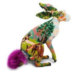 Fantastical forest creatures have taken over London's Stephanie Hoppen Gallery, courtesy of French artist Frédérique Morrel. She uses fibreglass taxidermy moulds and vintage tapestries to create unique artworks