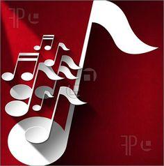 Illustration of White and gray musical notes on red velvet