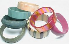 Vintage Lucite Wide Assorted Bracelet Mix 22-39mm - love these colors #beadinpath