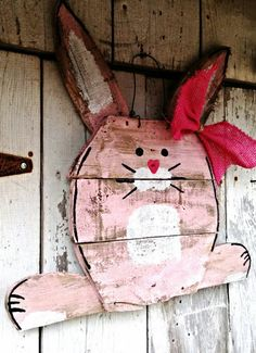 Bunny Door Hanger, Easter Door hanger, Easter Decor, Rabbit decor, Rustic Easter, Pallet Easter, Shabby Chic Easter Decor, Pallet Easter Art by PaePaesPlace on Etsy https://www.etsy.com/listing/220912669/bunny-door-hanger-easter-door-hanger