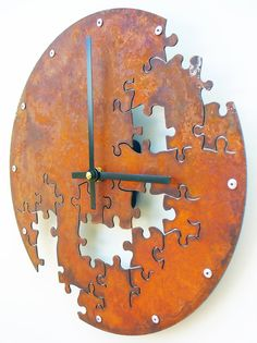 Puzzle Wall Clock V (Rusted).....  Puzzles and Clocks - 2 of my favorite in one!!  etsy.com listing from All15Designs