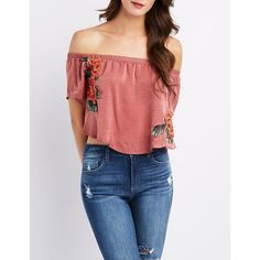 0f23a00211ab82 Charlotte Russe Floral Patch Off-The-Shoulder Crop Top ( 23) ❤ liked
