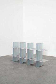 Haze Shelf_four Columns With Aluminium Plates, a shelf by Wonmin Park Steel Furniture, Ikea Furniture, Furniture Outlet, Discount Furniture, Display Shelves, Shelving, Outdoor Shelves, Journal Du Design, Interior Architecture