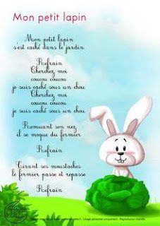 Mon petit lapin - comptine en français - nursery rhyme in French - good for Easter and any time of year! How To Speak French, Learn French, Teaching French, French Teacher, French Poems, Core French, French Education, French Classroom, French Immersion